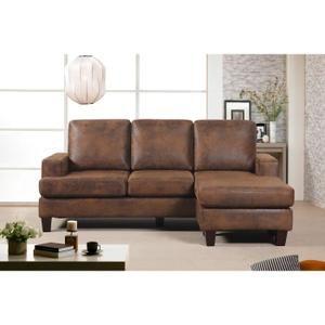 rock it canap d 39 angle r versible 5 places tissu marron effet vieilli vintage industriel. Black Bedroom Furniture Sets. Home Design Ideas