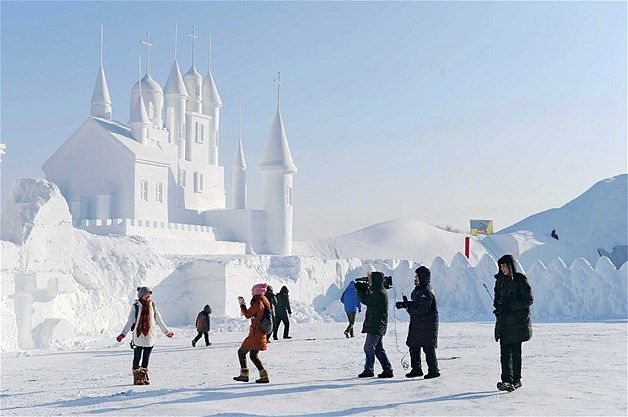 Escultura de neve em Changchun, na China