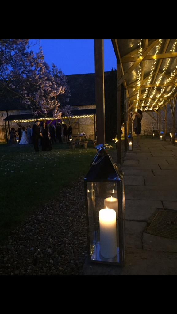 Walkway fairy lights for a gorgeous wedding at Notley Abbey
