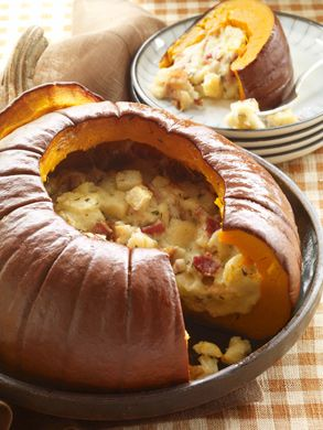"""Pumpkin stuffed with everything good"" via Epicurious One pinner wrote, ""I have made this and it's delicious!  You could add some sage country sausage to this, too."""