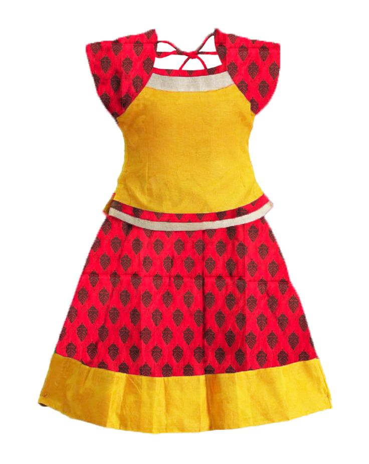 #readymadePattupavadai #kidspattupavadai Red with yellow Pattu pavadai