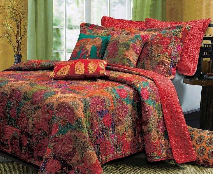 QUEEN Quilts Set Exotic Red Bohemian Floral Bedspread