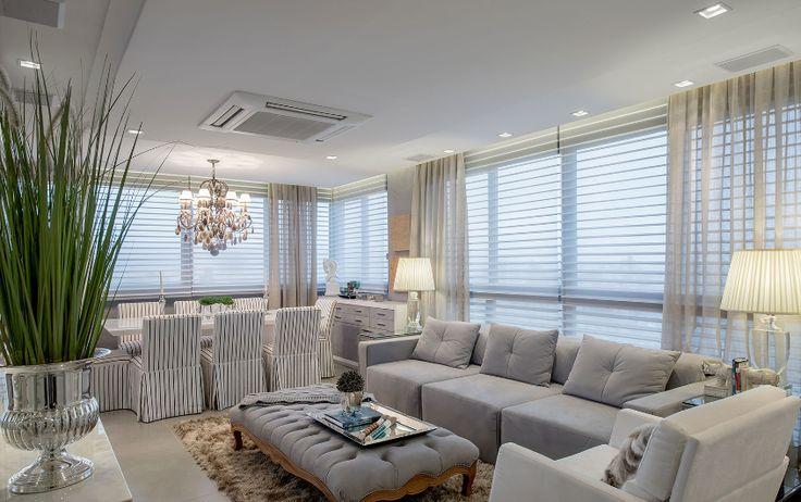 Apartamento com salas de tv e jantar integradas com a cozinha   lavabo lindo!