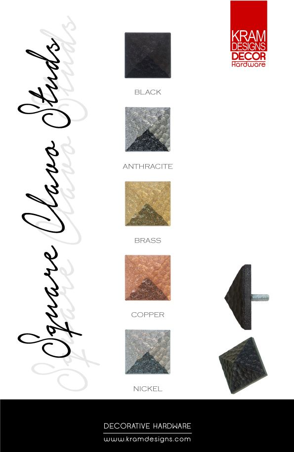Square Clavo Studs availble in 5 colours from Kram Designs Decor Hardware.