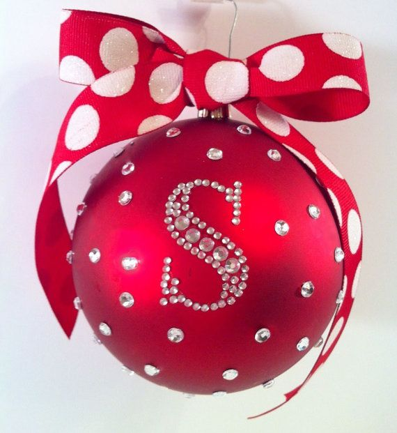 """PERSONALIZED 4"""" Matte Bling Rhinestone Shatterproof Christmas Ornament (1 initial) on Etsy, $18.00"""