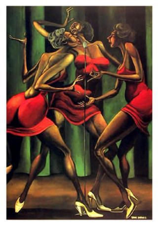 Singing Sisters, Ernie Barnes - I really like the works of this artist