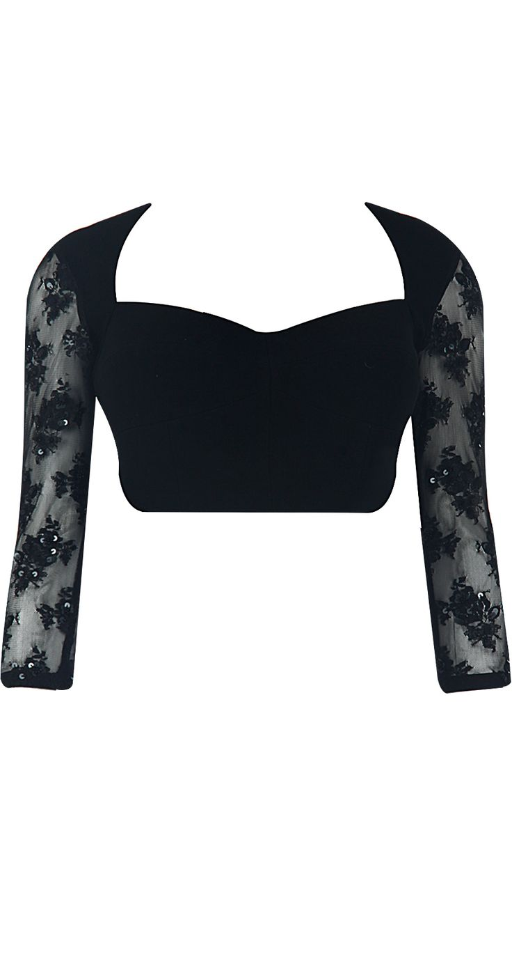 Black blouse with embroidered net sleeves by ATSU. Shop at http://www.perniaspopupshop.com/whats-new/atsu-7481