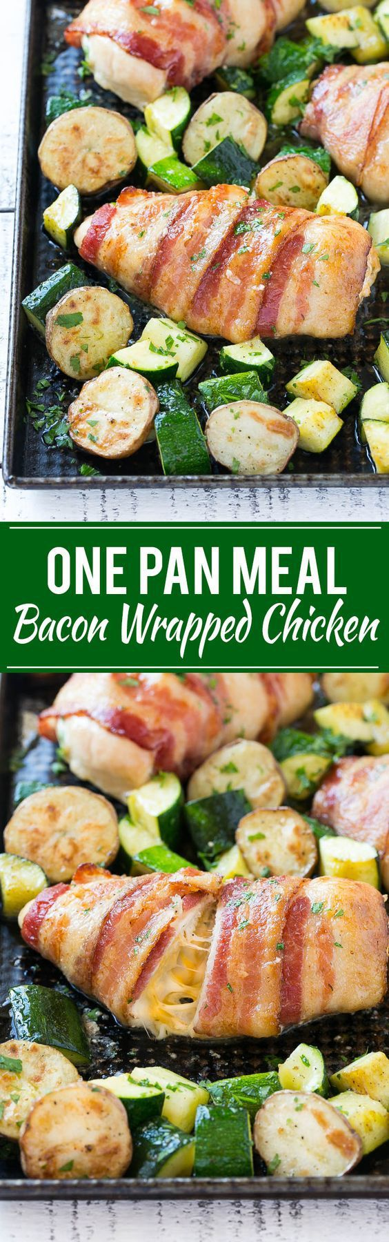 One Sheet Pan Bacon Wrapped Stuffed Chicken with Veggies Recipe via Dinner at the Zoo - This recipe for bacon wrapped stuffed chicken breast with roasted potatoes and zucchini is a quick and easy one pan meal that's sure to please any crowd! The chicken is stuffed with a an incredible combination of three cheeses, garlic and herbs.