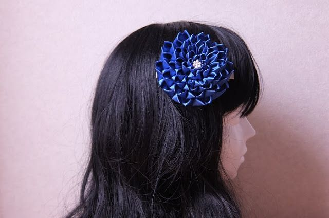 kanzashi.Satin blue flower.