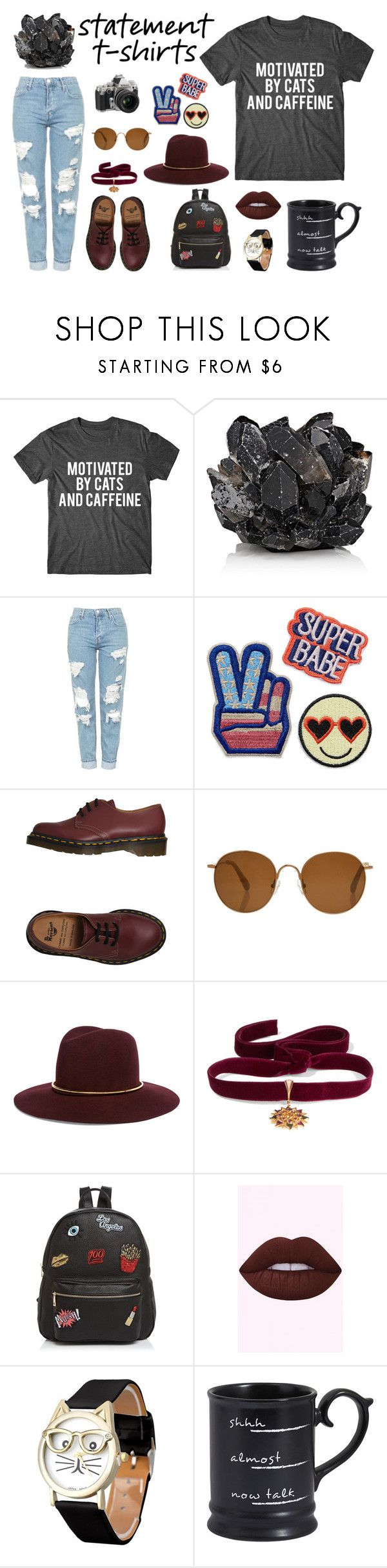 """""""cats & caffeine"""" by lanagur on Polyvore featuring мода, McCoy Design, Topshop, Nikon, Dr. Martens, The Row, Janessa Leone, Diego Percossi Papi, Ollie & B и Pier 1 Imports"""