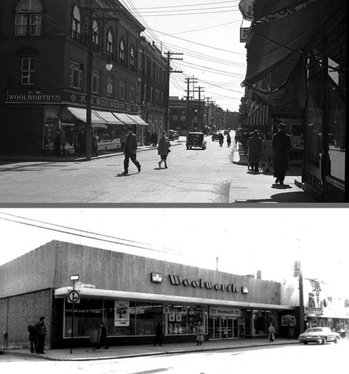 Premier magasin Woolworth, en 1947, Archives CHSH Deuxième magasin Woolworth, en 1983, Archives CHS