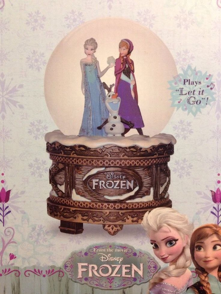 "NEW Disney Store Frozen Musical Anna Elsa Olaf Snow Globe ""LET IT GO"""