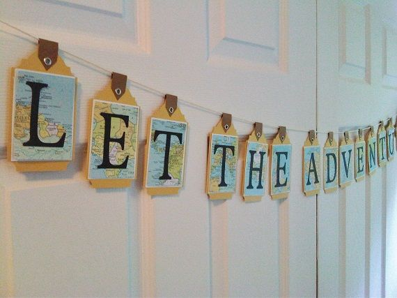 Let the Adventure Begin!  Custom Designed Party Banner.  Luggage tag style using vintage atlas pages.