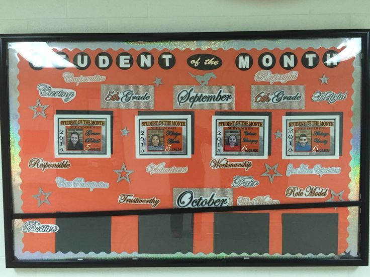 Classroom Ideas For High School ~ Student of the month bulletin board