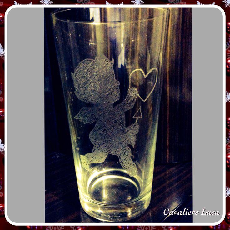 Cupido incisione su vetro