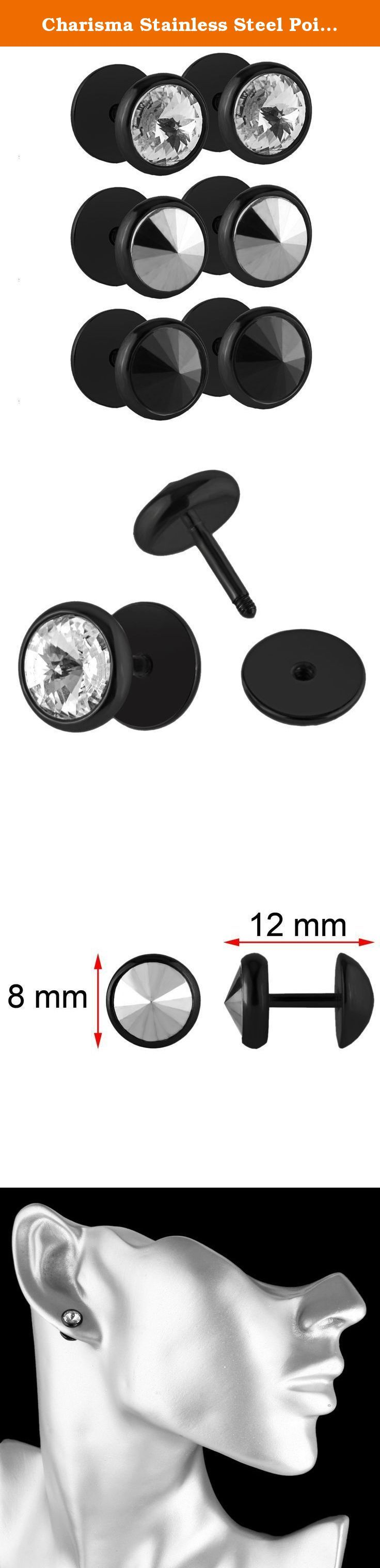 Charisma Stainless Steel Pointy CZ Crystal Stone Screw Stud Earrings Dome Dumbbell Plugs (Black). Charisma Jewelry: Best Jewelry Choice You Could Never Miss Charisma Jewelry are committed to providing you with the latest and most popular jewelry at affordable price. We attach great importance to customer experience and striving for 100% customer satisfaction. Find beautiful jewelry that highlight your charm or a special gift for your loved one from Charisma Collection. Why Choose Charisma...
