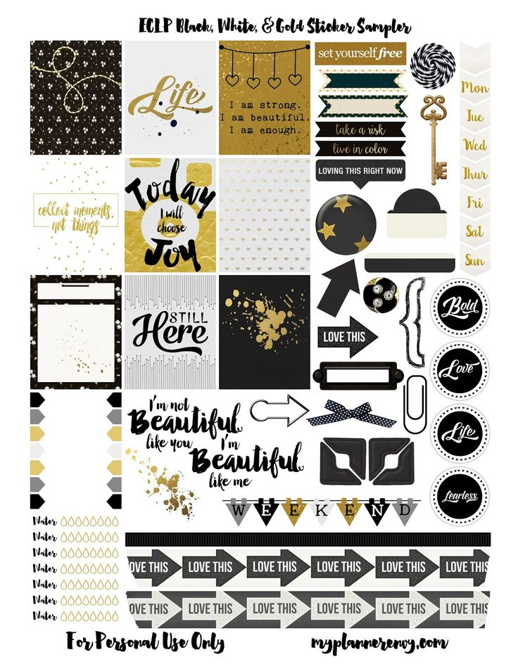 Free Printable Black, White, & Gold Sampler Planner Stickers {PDF, JPG and Studio3.  For The Happy Planner and Erin Condren} from myplannerenvy.com