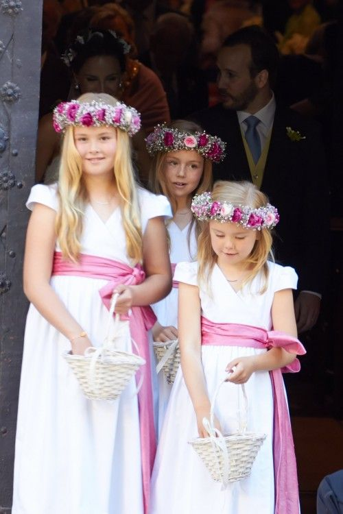 Princess Amalia, Princess Alexia and Princess Ariane serve as adorable bridesmaids at the wedding of Maxima's brother.