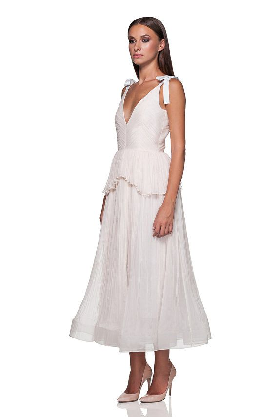 Tea-lenght silk wedding gown pleated skirt from by MaiaRatiu