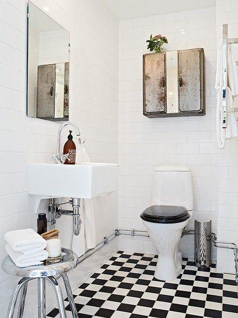 Subway tile + checkerboard floor = my dream bathroom