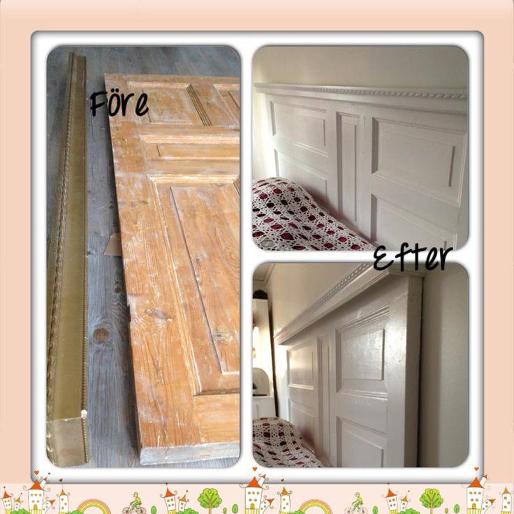 Bild från gruppen Återbruka mera från FB. Någon har tagiten gammal dörr och gjort om till sänggavel. Riktigt snyggt!