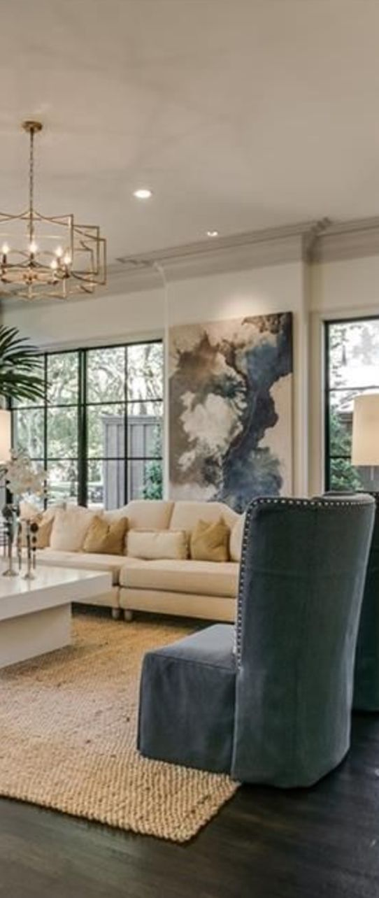 living room, art, windows