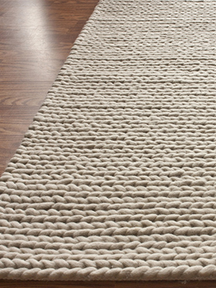 Downstairs Bathroom Rug: Chunky Cable Hand-Woven Rug