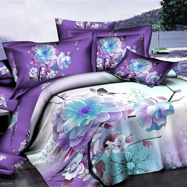 $72.20 ... Regularly $95 Peach Blossom Light Purple Bedding Set Queen Size Duvet Cover Bed Sheet Pillowcase 100% Cotton Home Textile Sets for Girls