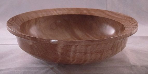 Curly Maple Wood Bowl Wooden Bowl Fine Woodworking Lathe Turned Woodturning Art 1192