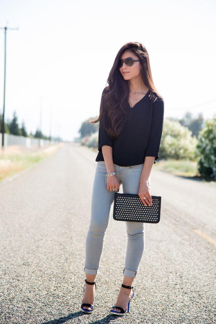 How to Wear Gray Skinny Jeans - Stylishlyme.com