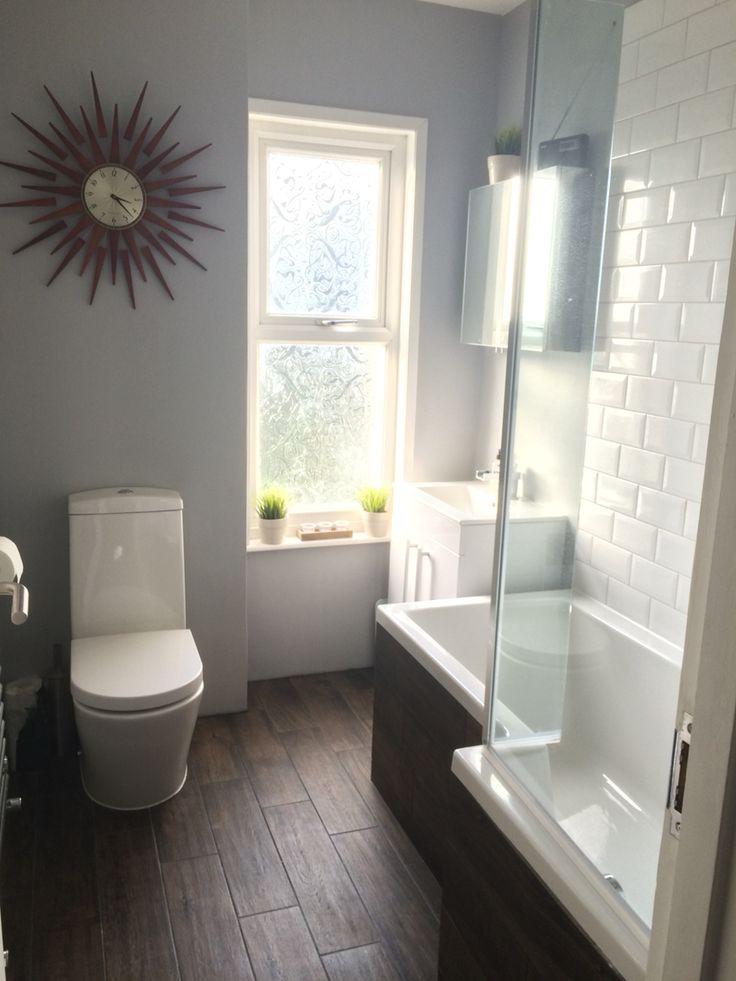 Wood effect floor tiles white metro tiles for bathroom. Dulux chic shadow
