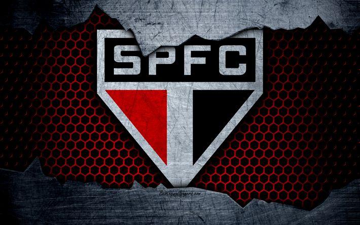 壁紙をダウンロードする サンパウロ, 4k, 当社は、, ロゴ, グランジ, ブラジル, サッカー, サッカークラブ, 金属の質感, 美術, サンパウロFC