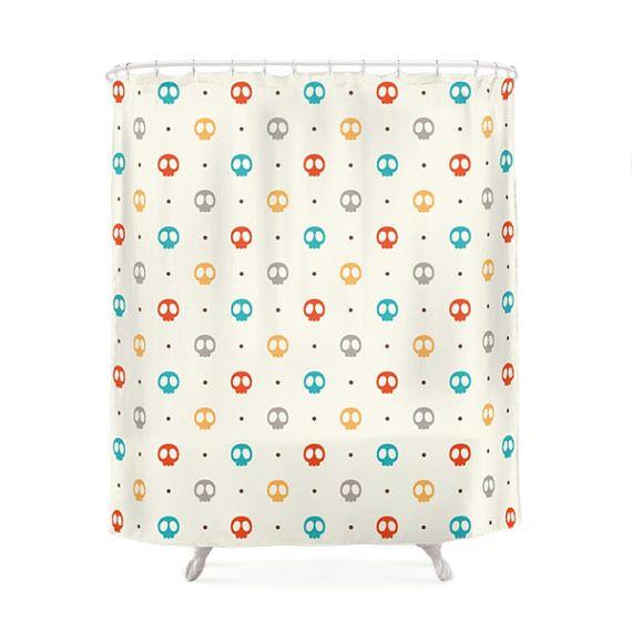 Color Skulls Pattern Shower Curtain. Children Bathroom