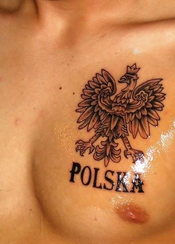 Polish eagle tattoos design on chest for men with sign Polska.