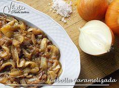 Cebolla caramelizada sin aceite ni azúcar (apta para la dieta Dukan):  las instrucciones en texto y vídeo en esta receta.