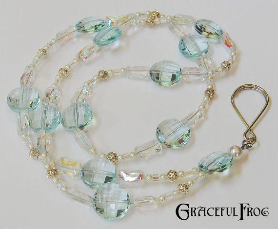 Beaded Lanyard ID Badge Holder Necklace Key Ring by GracefulFrog, $15.00