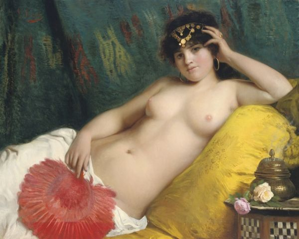 Giovanni Costa (Italian Painter ,1833-1893) – An odalisque with a Red Fan
