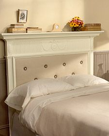 It is relatively easy and affordable to transform a mantelpiece into a headboard for a bed. Most mantles can accommodate a full size bed, which is 54 inches wide.