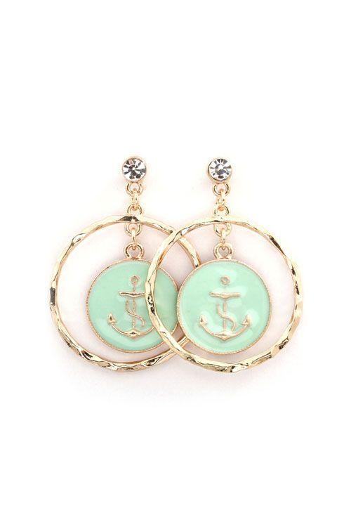Anchors away sea foam green earrings