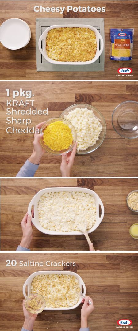Cheesy Potatoes – Check out this cheesy side dish recipe to learn how you can make this gooey casserole for your dinner table. Cheesy Potatoes start with hash browns, sour cream, and KRAFT Shredded Sharp Cheddar Cheese, and end with a cracker-crumb topping—this is sure to be a family favorite!