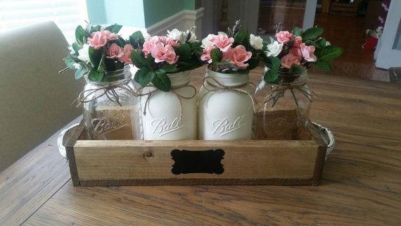 Check out this item in my Etsy shop https://www.etsy.com/listing/286250799/mason-jar-centerpiece-mason-jar-decor