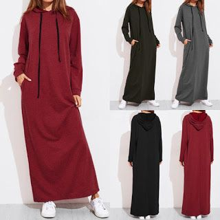 clothes ,make up ~ looks I can wear..just click to see more : Womens Maxi Jumper Dress Long Sleeve Hooded Baggy ...