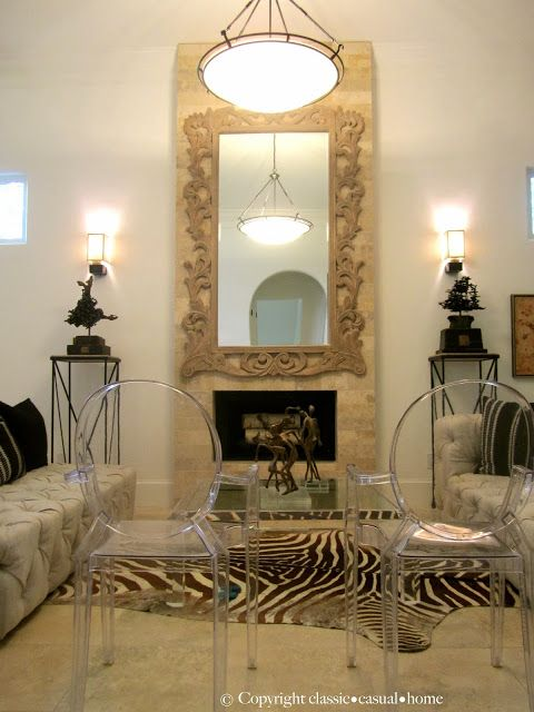 Over-sized mirror instead of mantel for narrow room; classic • casual • home: Relaxed Elegance With Modern Flair