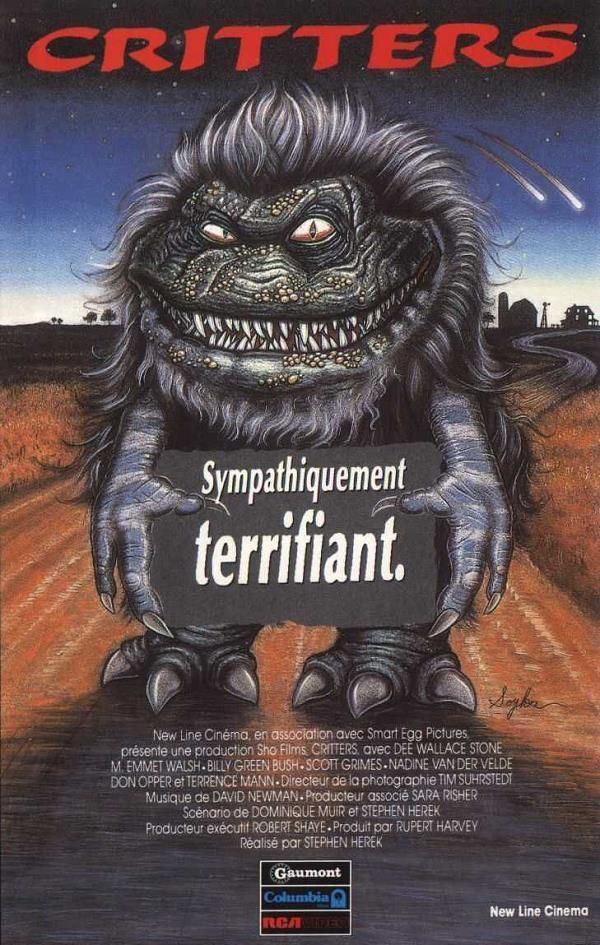 Critters    Support: BluRay 720    Directeurs: Stephen Herek    Année: 1986 - Genre: Comédie / Horreur / Science-Fiction - Durée: 85 m.    Pays: United States of America - Langues: Français    Acteurs: Dee Wallace, M. Emmet Walsh, Billy Green Bush, Scott Grimes, Nadine Van der Velde, Billy Zane, Don Keith Opper, Ethan Phillips, Lin Shaye, Terrence Mann, Jeremy Lawrence, Michael Lee Gogin, Art Frankel