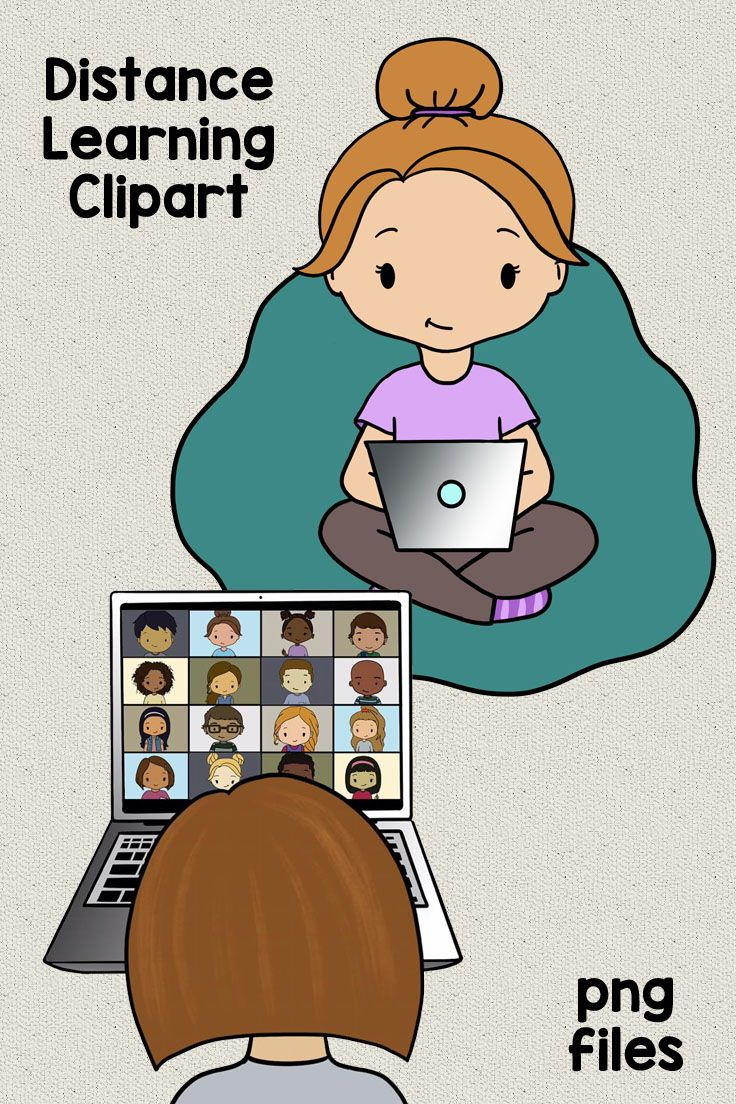 Distance Learning Clipart Students With Devices At Home Tablets And Laptops Clip Art Distance Learning Learning