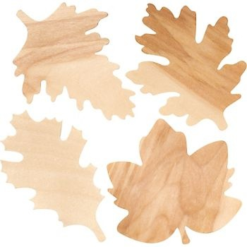 Fall decoration - Wooden Fall Leaves Pack.  I incorporated these into a fall wreath.  They really are cut out from wood.  Love these.  You could have your kids stamp their names and use as placecards for Thanksgiving.  Get creative!
