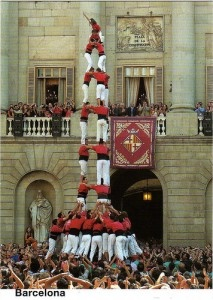 Here's a quick look at the the human castles, the famous tradition of the Catalans and Barcelona. These are called Catalan Castellers and consist of a strong base of people with layer upon layer of people, pinnacling with one child standing at the top.
