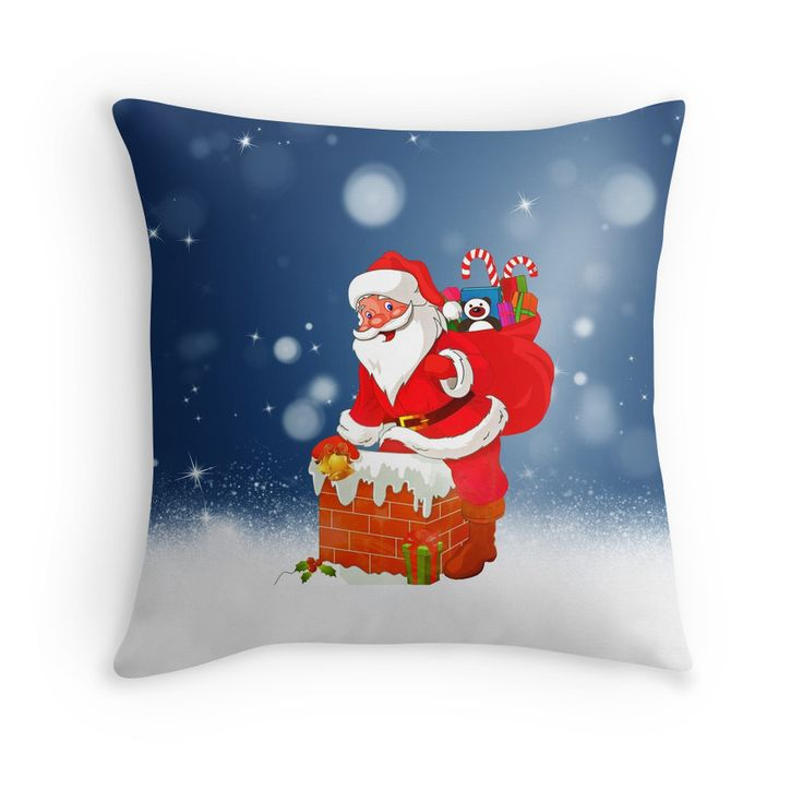 Cute Santa Claus with Gift Bag #Christmas Snow Stars #noel #kwanzaa