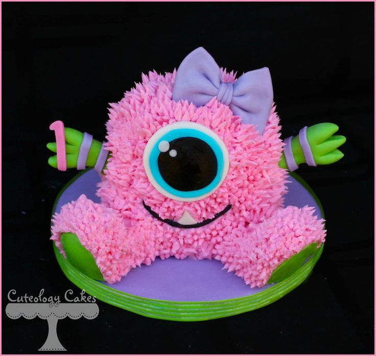 Monster Cake and Smash Cake - by CuteologyCakes @ CakesDecor.com - cake decorating website