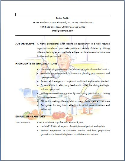 bartender resume example chef resume sample job resume layout free sample resumes